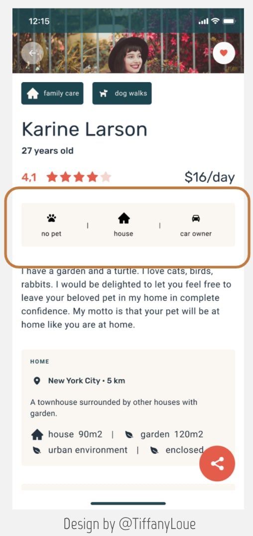 Sample of a mobile app showing the profile of a pet sitter