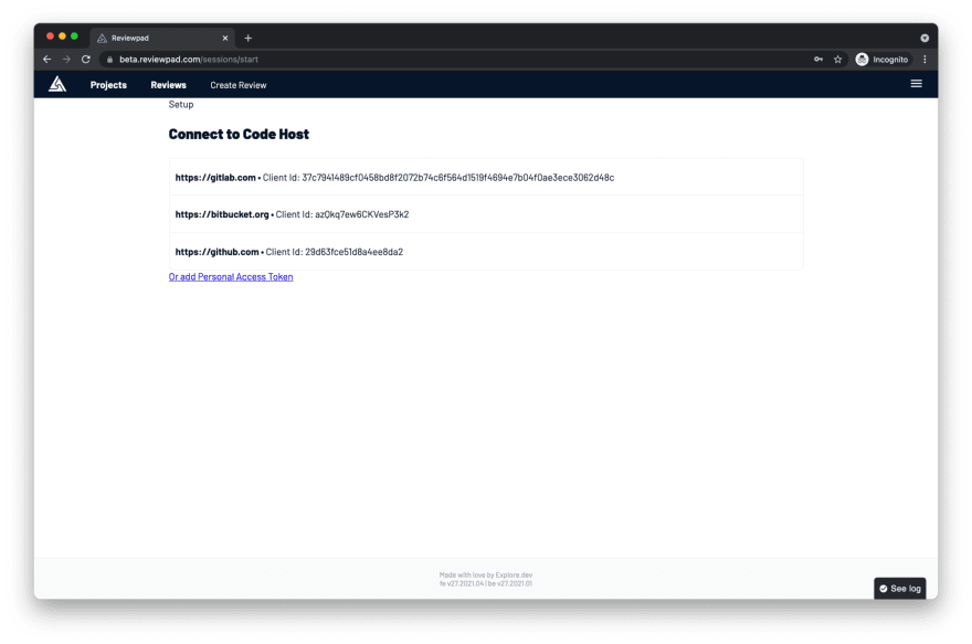 Connect to code host page on Reviewpad.