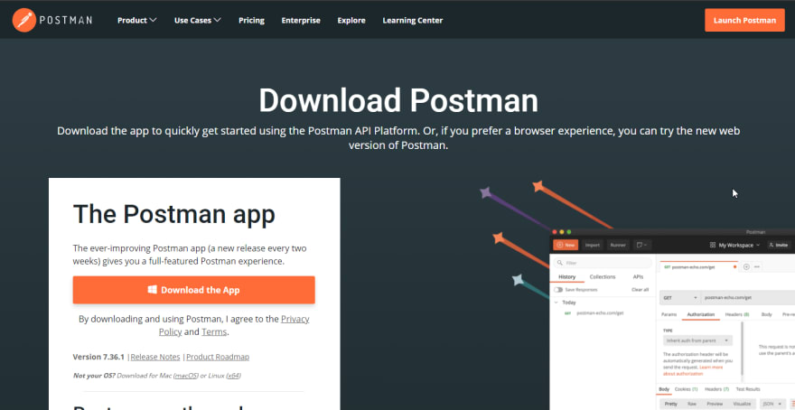 Postman Download Page