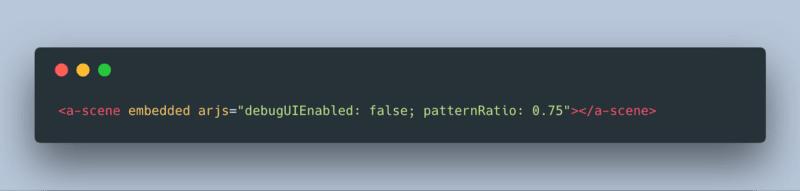 Screenshot of custom pattern ratio for an AR.js marker