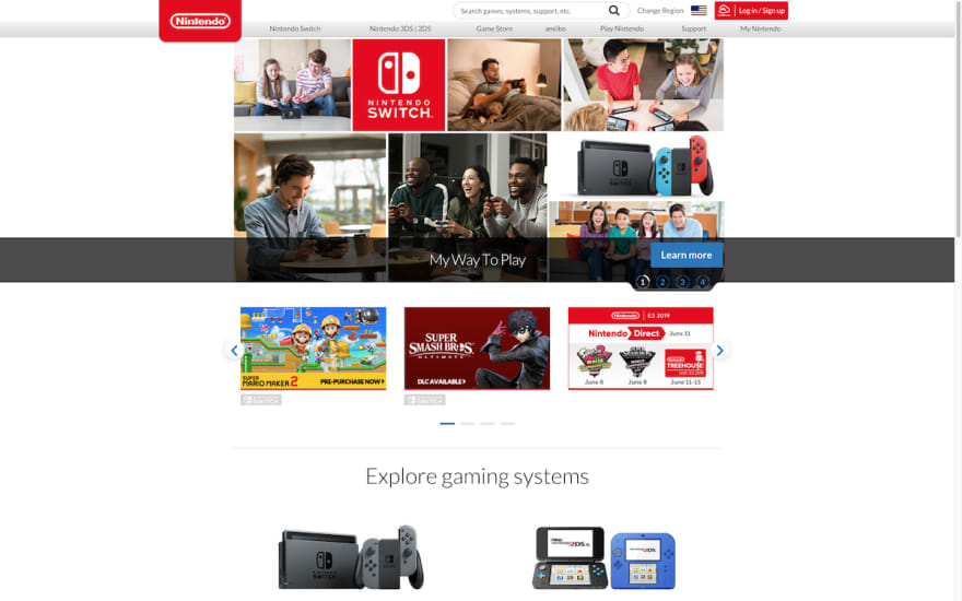 Nintendo Homepage Screenshot