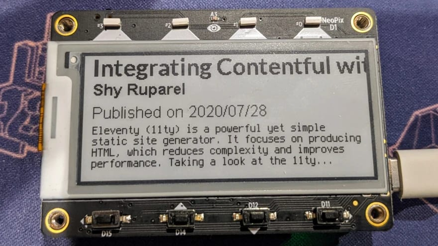Photo of the magtag integrating with the Contentful