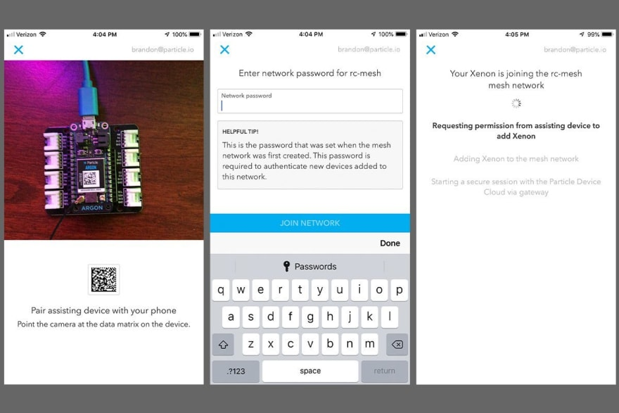 Image of three screen shots from the mobile set up of a Particle Mesh network.