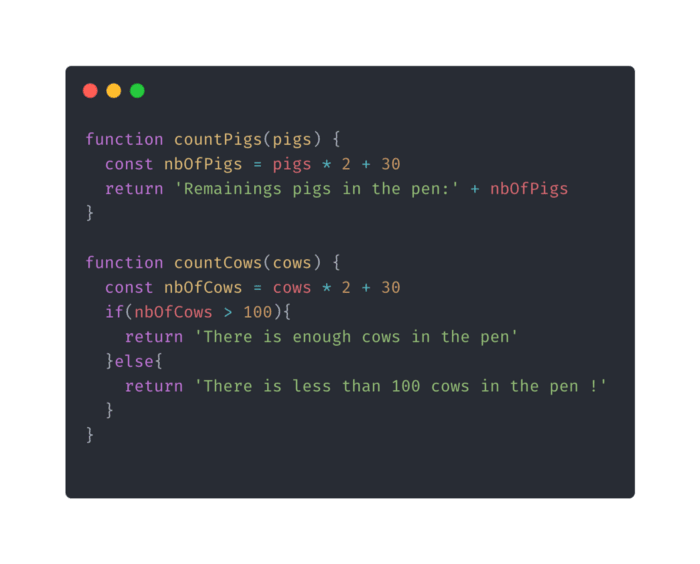 Code example which isn't refactored nor documented.