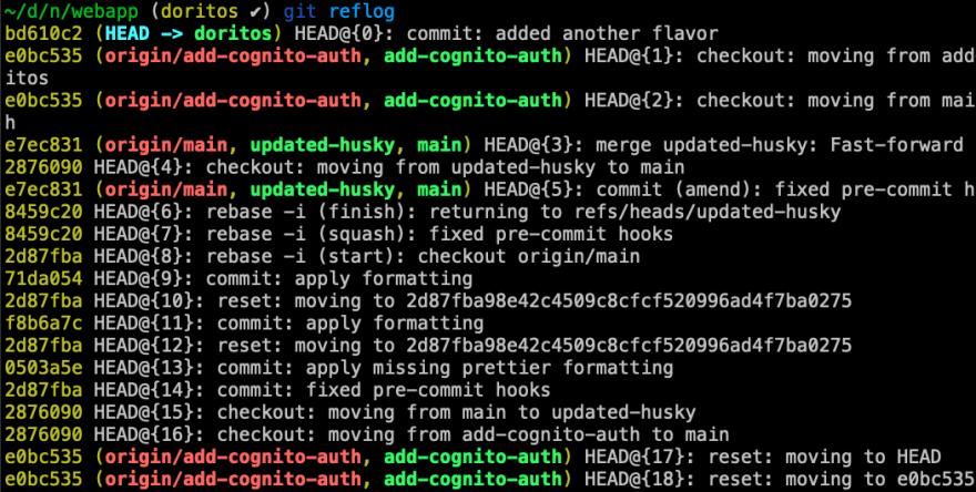git reflog output
