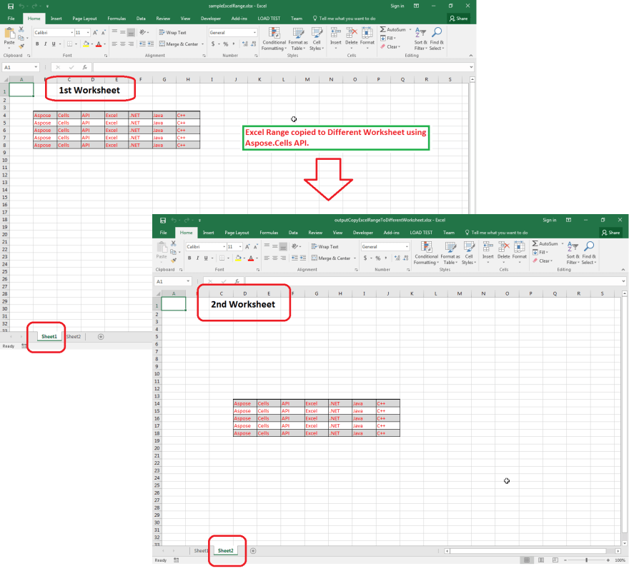 Excel Range copied to Different Worksheet using Aspose.Cells API