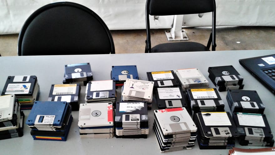 Floppies. I used Pascal with them, although I started with Basic