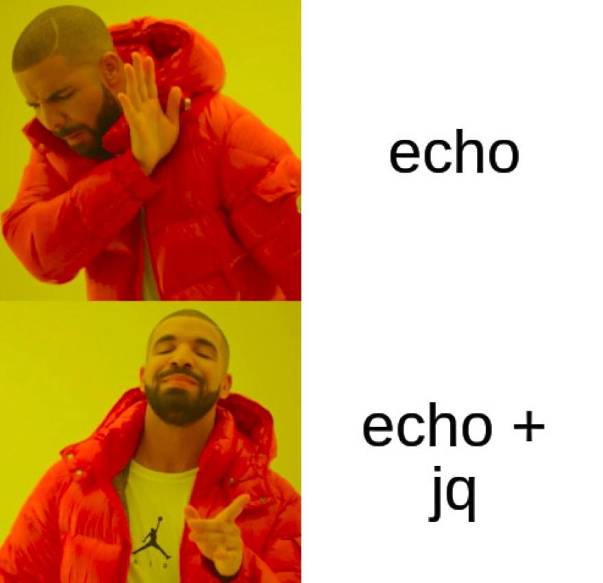 echo + jq