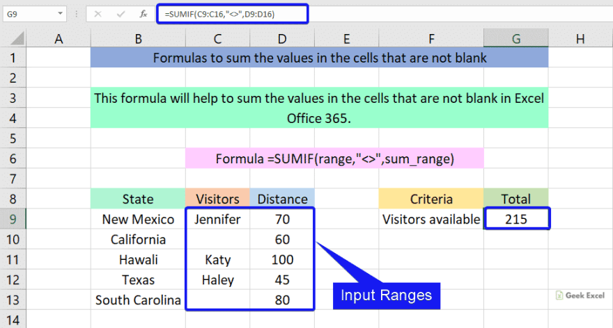 Formulas to sum the values that are not blank