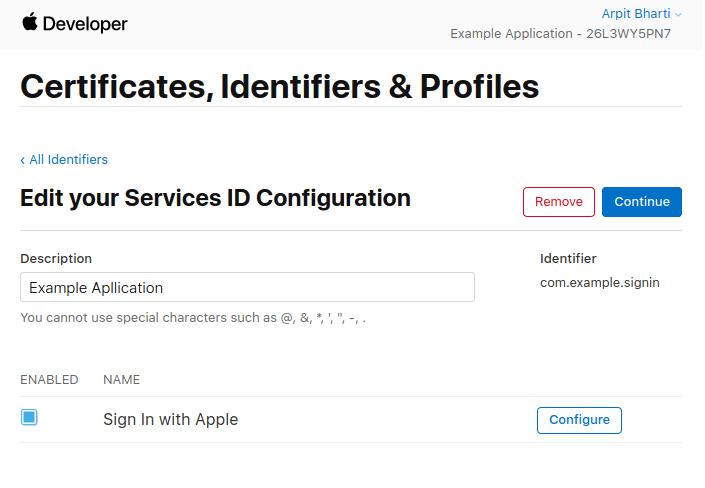 Enter a description for Service ID