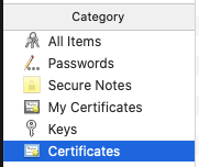 Certificates option selected