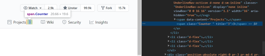 Inspecting a GitHub counter via the Chrome dev tools