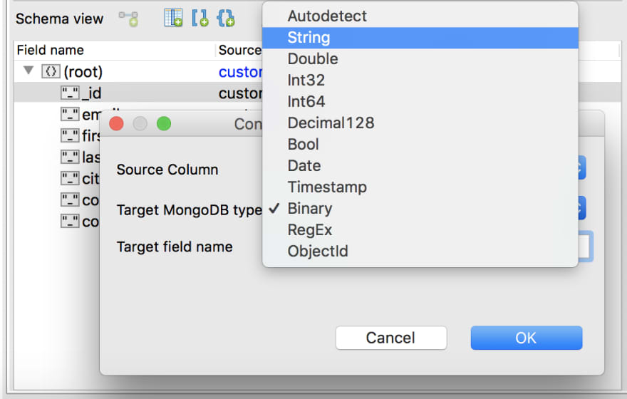 Changing field types within Schema view is quick and easy
