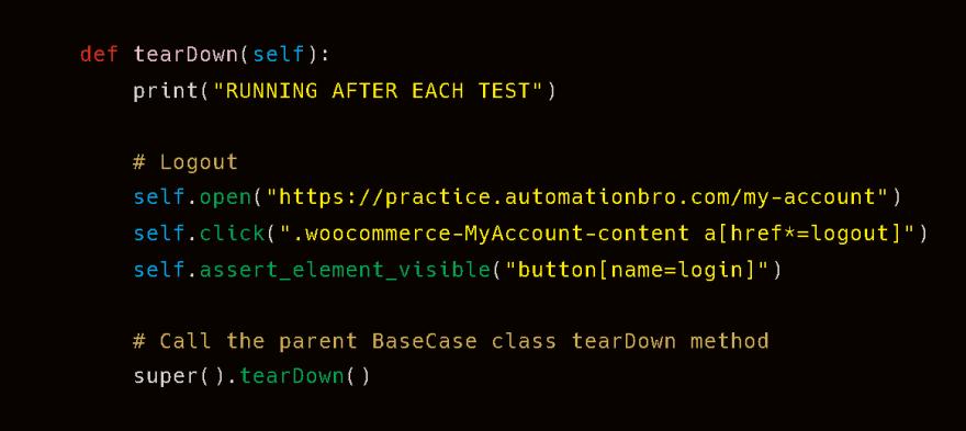teardown code