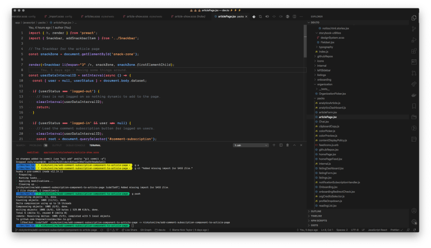 Screenshot of VSCode with my current theme Min dark