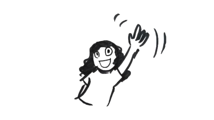 cartoon self waving