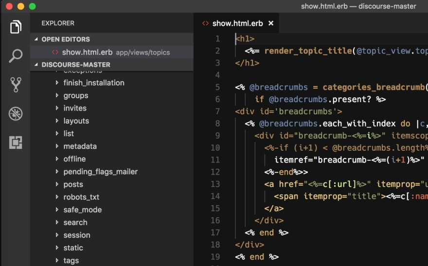 An ERB file in Visual Studio Code