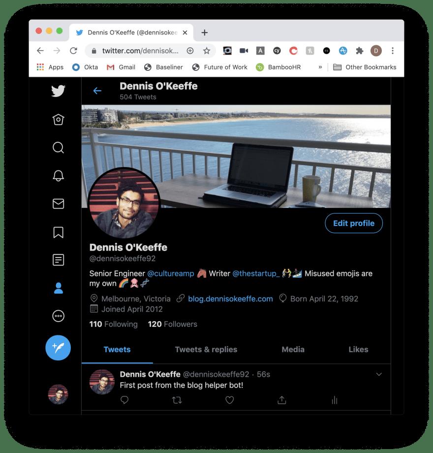 First Twitter bot post