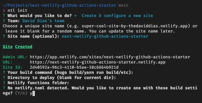 Screenshot of the CLI asking to create a netlify.toml file