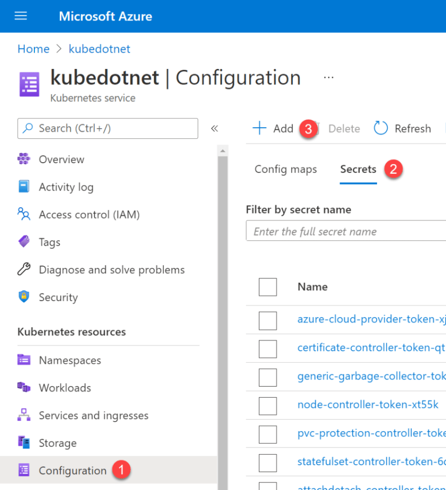 How to add a Secret to Kubernetes in Azure Kubernetes Service in the Azure Portal.