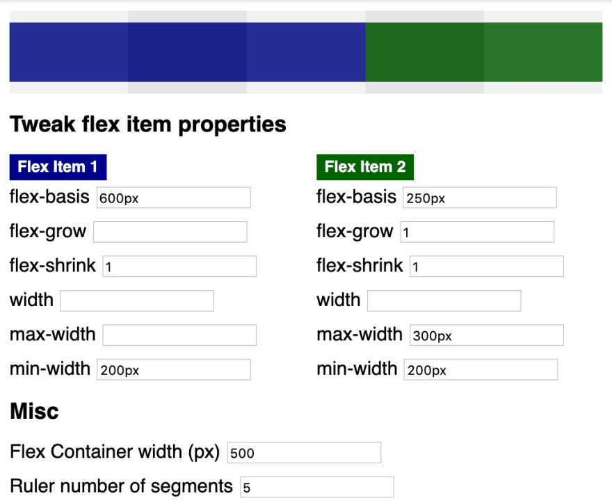 combination of many flex item properties