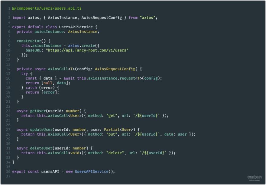 API methods encapsulated within a class