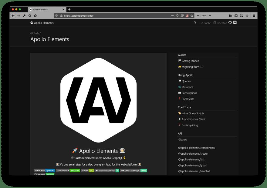 Screenshot of typedoc site