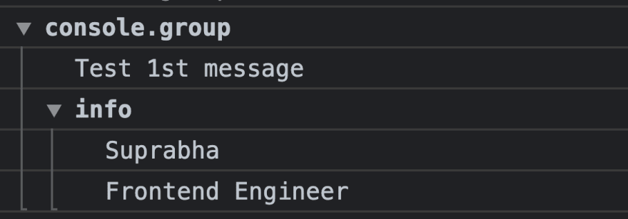 console group and groupEnd