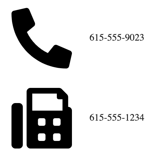 Telephone and fax machine icons with ten digit numbers displayed next to them.