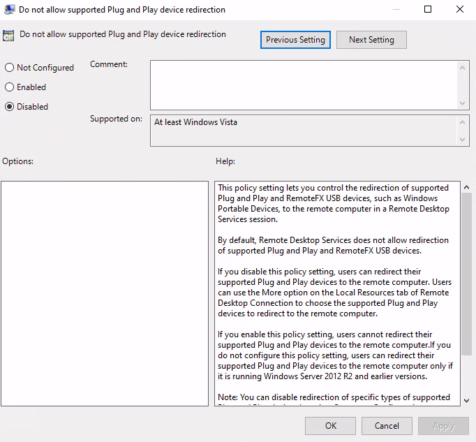 Group policy settings for enabling USB devices on the remote host side.