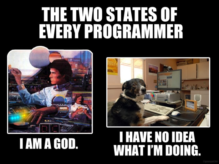 The two states of every programmer: Left panel with person moving multiple knobs and switches with the following caption, I am a god. Right panel is a clueless dog at a computer with the following caption, I have no idea what I'm doing.