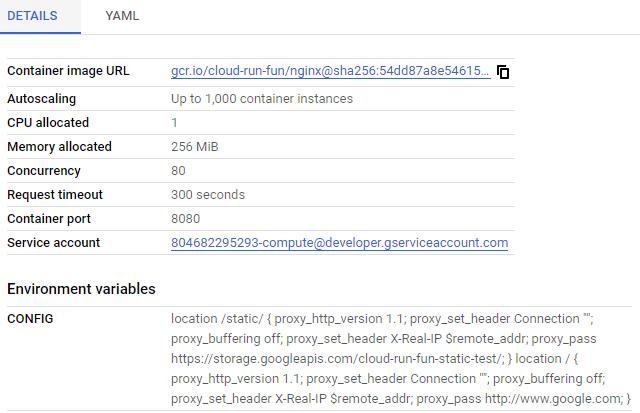 Cloud Run Details section