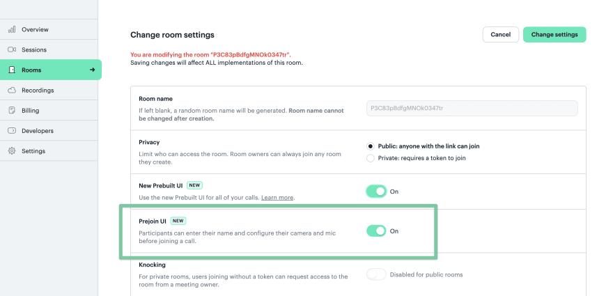 Prejoin UI setting in Daily Dashboard