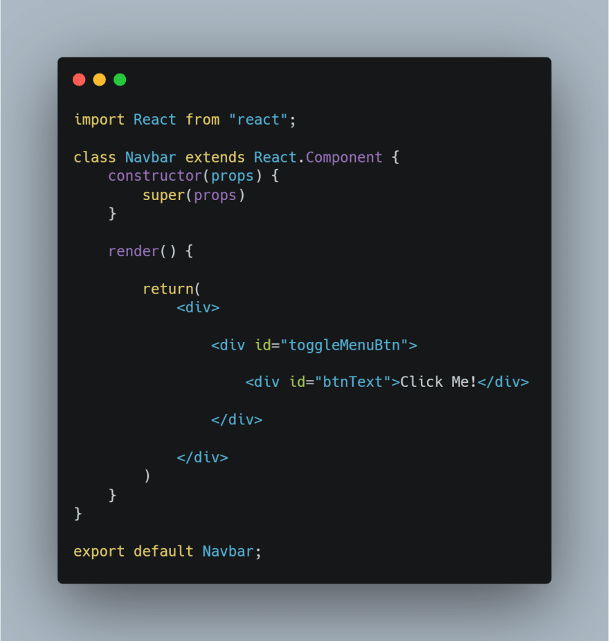 Code snippet of starting code