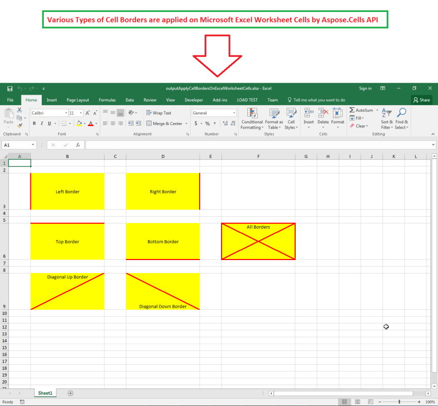 Excel Cell Borders, Left, Right, Up, Bottom, Diagonal Up and Down created by Aspose.Cells API.