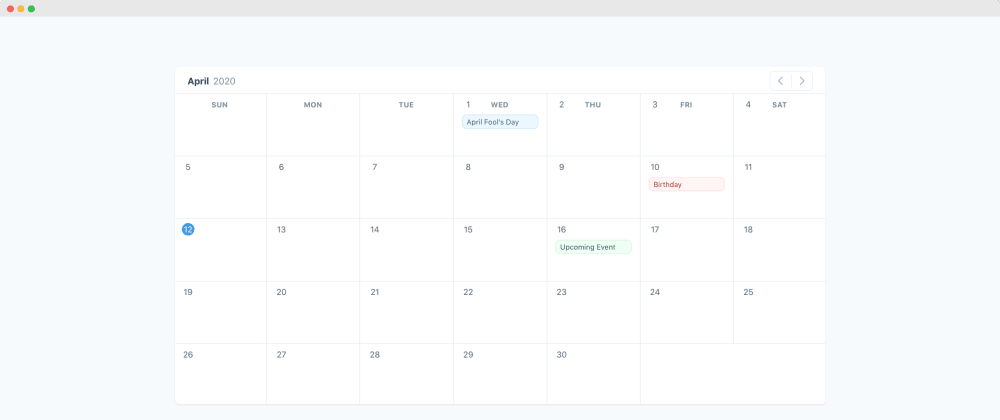 Cover image for Calendar UI with TailwindCSS and AlpineJS