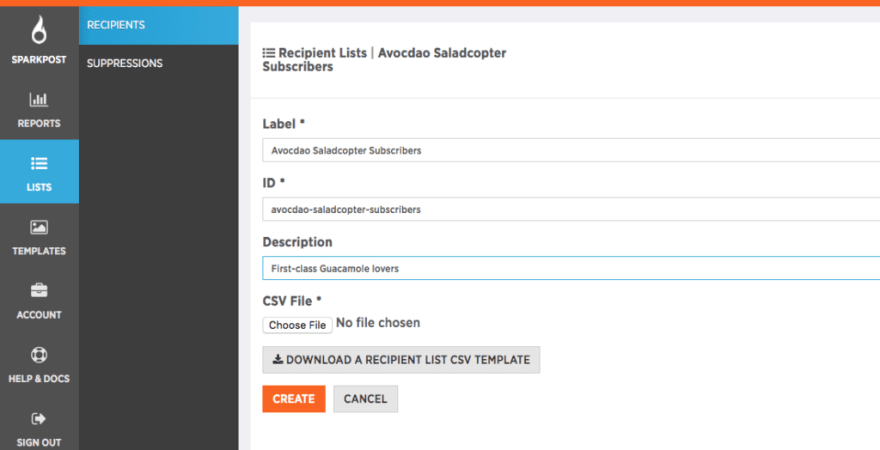 Download a SparkPost Recipient List CSV Template