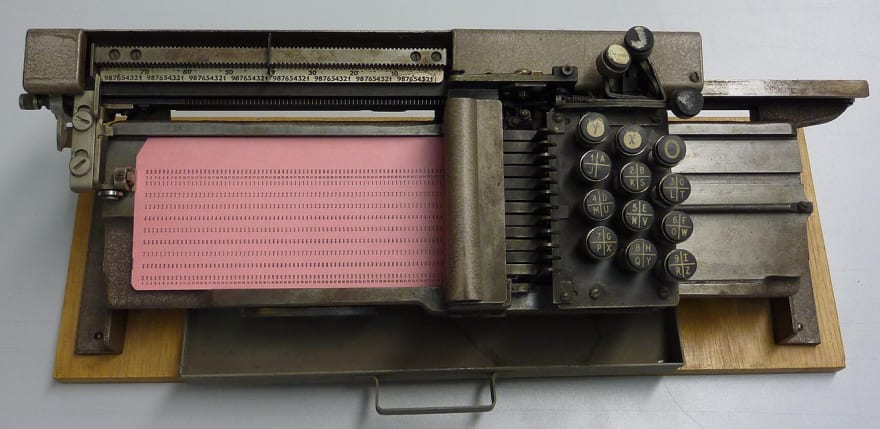 An image of an old punch card machine