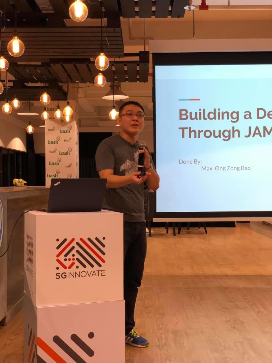 Junior Dev SG Photo of me presenting