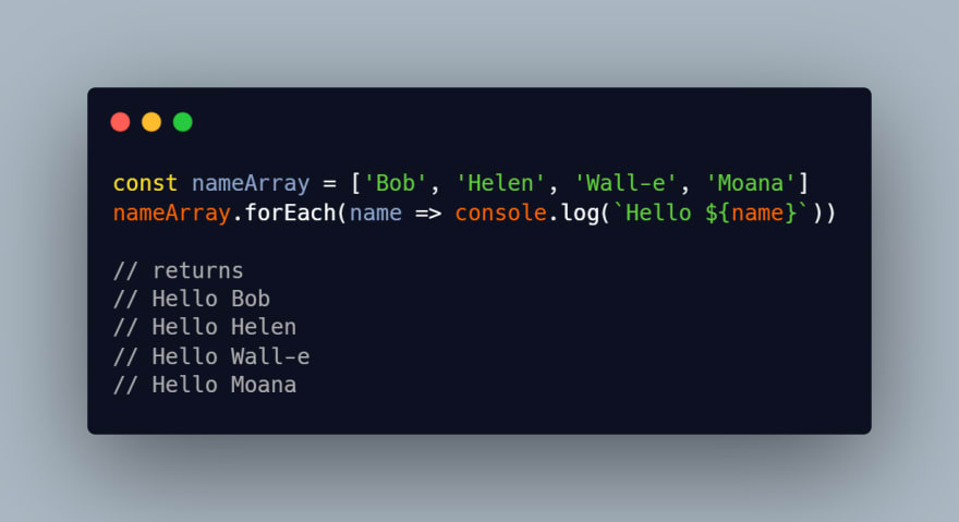 Array.forEach with arrow function