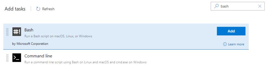 Add Bash Script Task