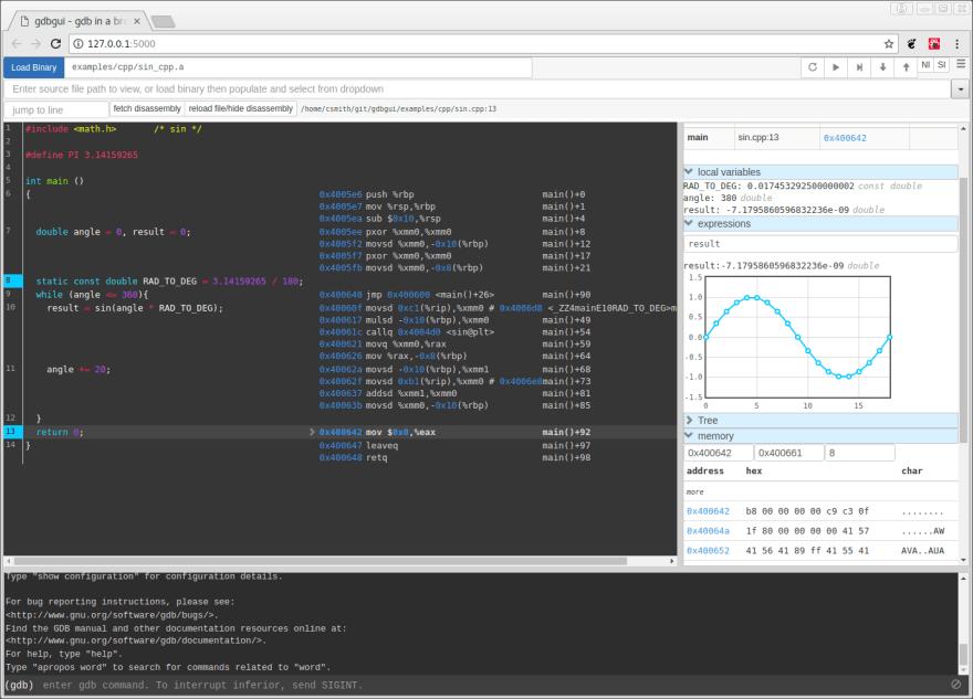 gdb debugger browser based frontend