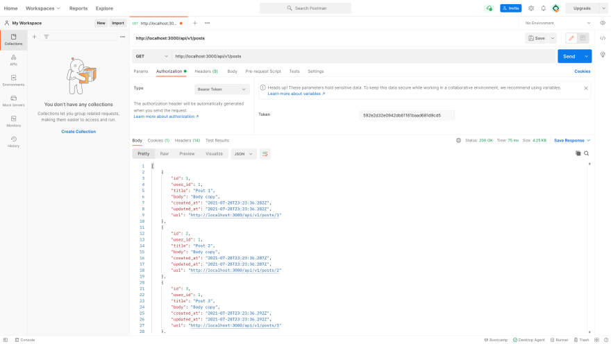 API as viewed from Postman