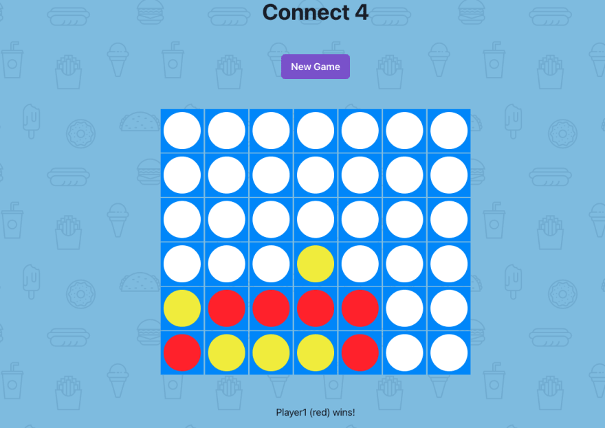 connect 4 game with winning scenario