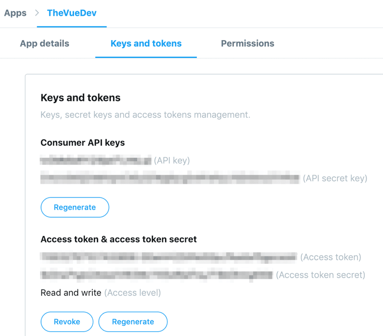 The Twitter developer page with some access tokens and secret keys to copy