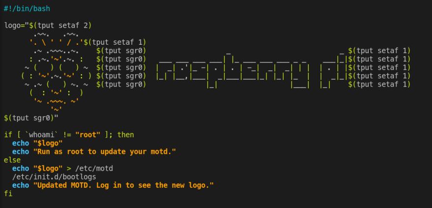 A custom MOTD: code