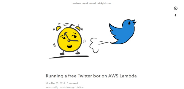 A screenshot of Vicky Lai's post on using AWS to make a Twitter bot.