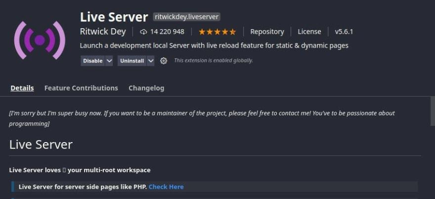 live server no vscode
