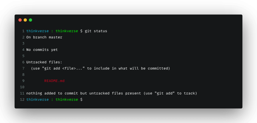 Using git status to check the git workspace