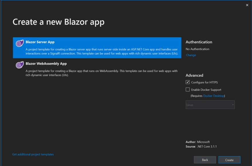 create an ASP.NET Core Blazor application